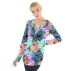 Floral Waves Tie Up Tee