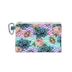 Floral Waves Canvas Cosmetic Bag (small)