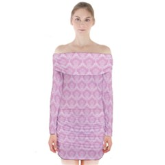 Damask Pink Long Sleeve Off Shoulder Dress