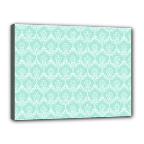Damask Aqua Green Canvas 16  X 12  by snowwhitegirl