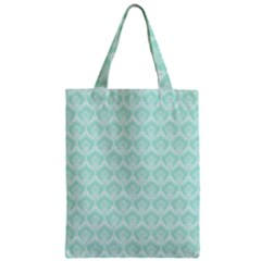 Damask Aqua Green Zipper Classic Tote Bag by snowwhitegirl