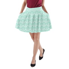 Damask Aqua Green A-line Pocket Skirt by snowwhitegirl
