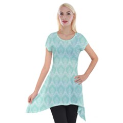 Damask Aqua Green Short Sleeve Side Drop Tunic