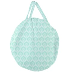 Damask Aqua Green Giant Round Zipper Tote by snowwhitegirl