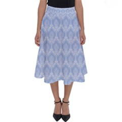 Damask Light Blue Perfect Length Midi Skirt