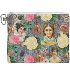 Damask Religious Victorian Grey Canvas Cosmetic Bag (xxxl) by snowwhitegirl