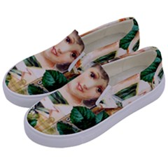 Little Girl Victorian Collage Kids  Canvas Slip Ons by snowwhitegirl