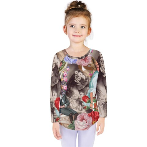 Victorian Collage Kids  Long Sleeve Tee by snowwhitegirl