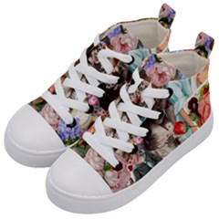 Victorian Collage Kid s Mid Top Canvas Sneakers by snowwhitegirl