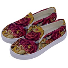 Octopus Floral Kids  Canvas Slip Ons by snowwhitegirl
