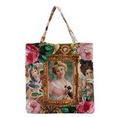 Victorian Collage Of Woman Grocery Tote Bag by snowwhitegirl