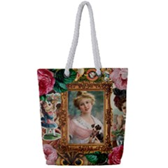Victorian Collage Of Woman Full Print Rope Handle Tote (small)