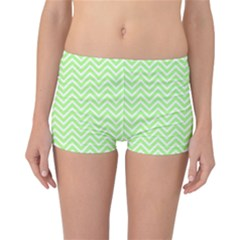 Green Chevron Reversible Boyleg Bikini Bottoms by snowwhitegirl