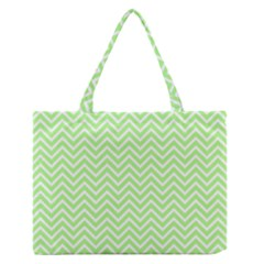 Green Chevron Zipper Medium Tote Bag by snowwhitegirl