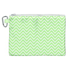 Green Chevron Canvas Cosmetic Bag (xl) by snowwhitegirl