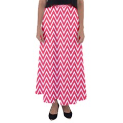 Red Chevron Flared Maxi Skirt