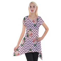 Violet Chevron Rose Short Sleeve Side Drop Tunic
