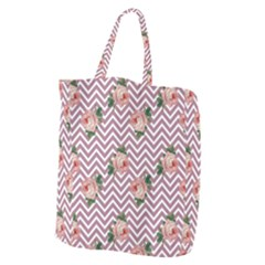 Violet Chevron Rose Giant Grocery Zipper Tote