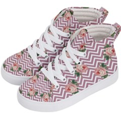 Violet Chevron Rose Kid s Hi Top Skate Sneakers by snowwhitegirl