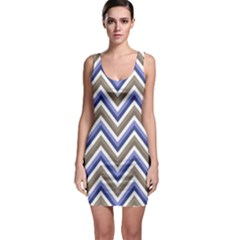 Chevron Blue Beige Bodycon Dress by snowwhitegirl