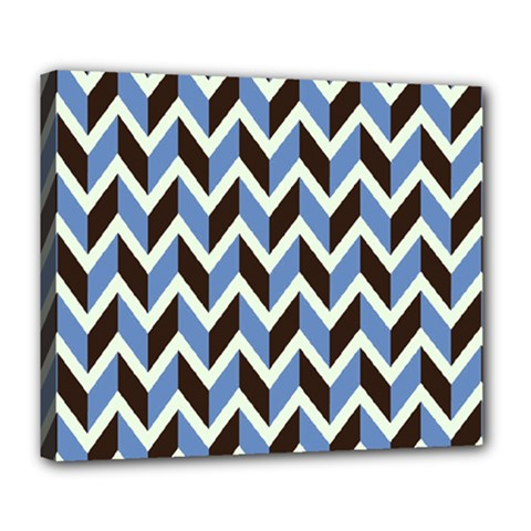 Chevron Blue Brown Deluxe Canvas 24  X 20