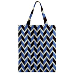 Chevron Blue Brown Zipper Classic Tote Bag by snowwhitegirl
