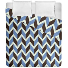 Chevron Blue Brown Duvet Cover Double Side (california King Size) by snowwhitegirl