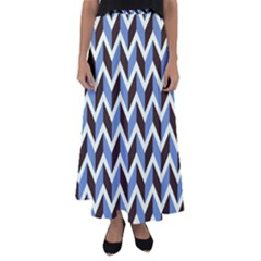 Chevron Blue Brown Flared Maxi Skirt