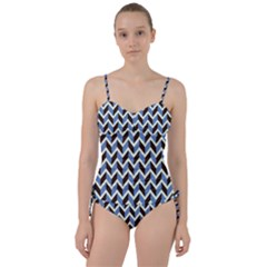 Chevron Blue Brown Sweetheart Tankini Set by snowwhitegirl