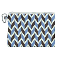 Chevron Blue Brown Canvas Cosmetic Bag (xl) by snowwhitegirl