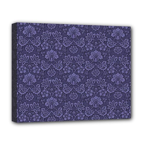 Damask Purple Deluxe Canvas 20  X 16