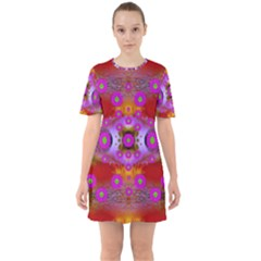 Shimmering Pond With Lotus Bloom Sixties Short Sleeve Mini Dress
