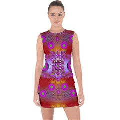 Shimmering Pond With Lotus Bloom Lace Up Front Bodycon Dress by pepitasart