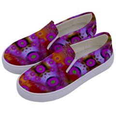 Shimmering Pond With Lotus Bloom Kids  Canvas Slip Ons by pepitasart