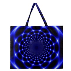 Indigo Lotus 2 Zipper Large Tote Bag by vwdigitalpainting
