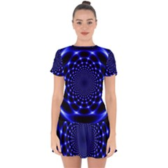 Indigo Lotus  Drop Hem Mini Chiffon Dress by vwdigitalpainting