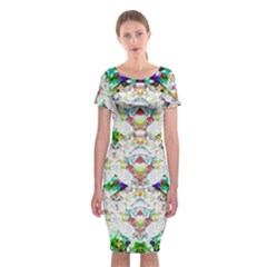 Nine Little Cartoon Dogs In The Green Grass Classic Short Sleeve Midi Dress by pepitasart