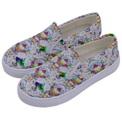 Nine Little Cartoon Dogs In The Green Grass Kids  Canvas Slip Ons by pepitasart