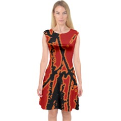 Vivid Abstract Grunge Texture Capsleeve Midi Dress by dflcprints