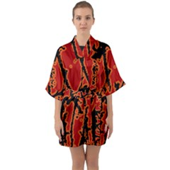 Vivid Abstract Grunge Texture Quarter Sleeve Kimono Robe by dflcprints