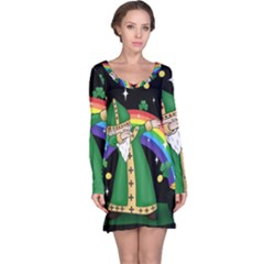 St  Patrick  Dabbing Long Sleeve Nightdress by Valentinaart