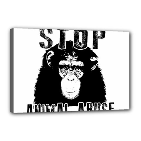Stop Animal Abuse   Chimpanzee  Canvas 18  X 12  by Valentinaart
