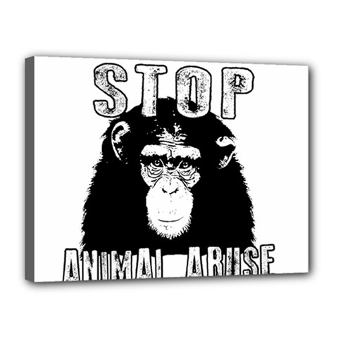 Stop Animal Abuse   Chimpanzee  Canvas 16  X 12  by Valentinaart