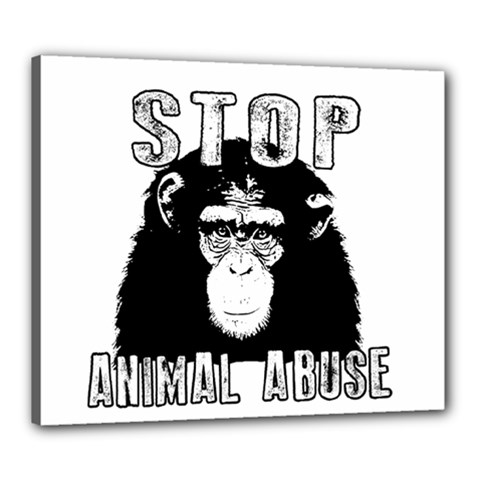 Stop Animal Abuse   Chimpanzee  Canvas 24  X 20  by Valentinaart