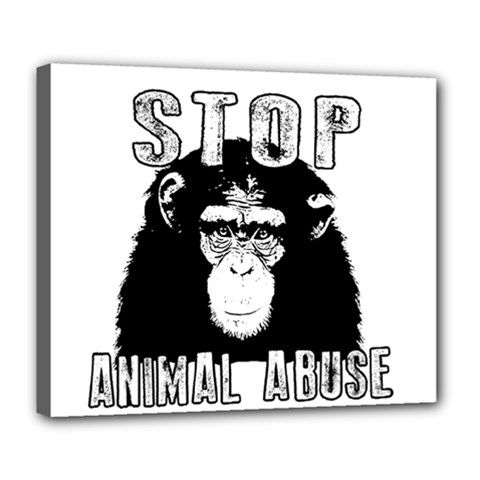Stop Animal Abuse - Chimpanzee  Deluxe Canvas 24  x 20