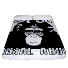 Stop Animal Abuse - Chimpanzee  Fitted Sheet (Queen Size)