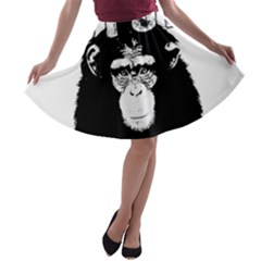 Stop Animal Abuse - Chimpanzee  A-line Skater Skirt
