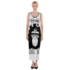 Stop Animal Abuse - Chimpanzee  Fitted Maxi Dress