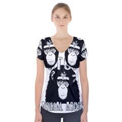 Stop Animal Abuse - Chimpanzee  Short Sleeve Front Detail Top