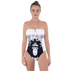 Stop Animal Abuse - Chimpanzee  Tie Back One Piece Swimsuit